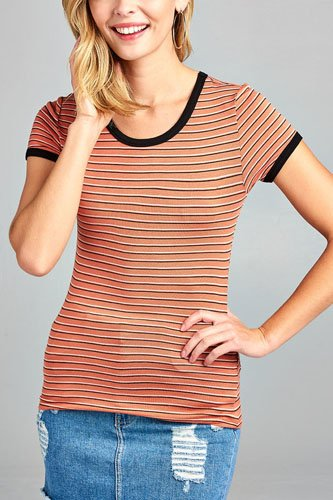 Ladies fashion round neck short sleeve yarn dye stripe rayon spandex jersey top-id.CC34588a