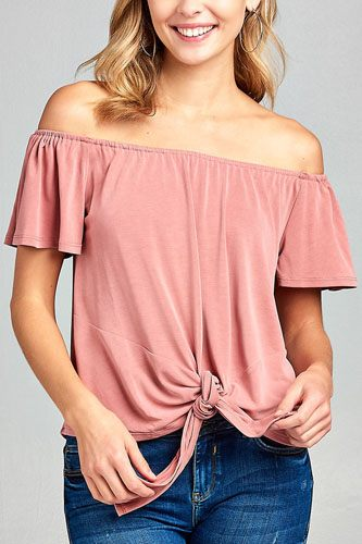 Ladies fashion short sleeve off the shoulder front bow tie sand washed modal jersey top-id.CC34589