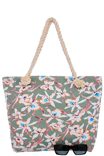 Orchid print canvas tote bag-id.CC34597