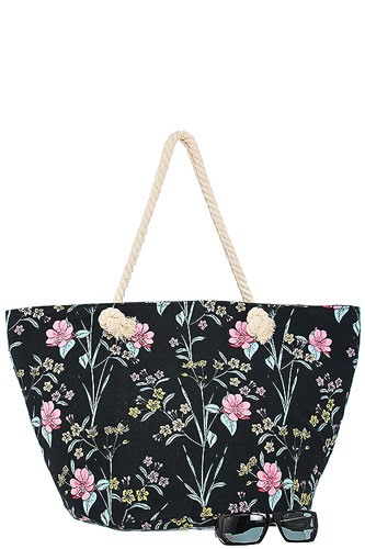 Oversized tropical floral print tote bag-id.CC34599