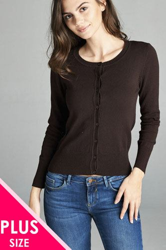 Ladies fashion plus size 3/4 sleeve crew neck cardigan sweater-id.CC34600d