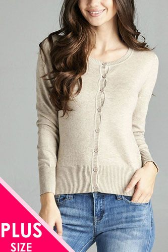 Ladies fashion plus size 3/4 sleeve crew neck cardigan sweater-id.CC34600f