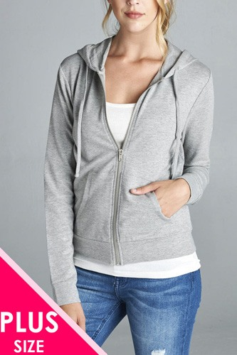 Ladies fashion plus size long sleeve zipper french terry jacket w/ kangaroo pocket-id.CC34603a