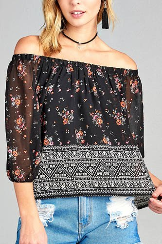 Ladies fashion off the shoulder with floral border print chiffon woven top-id.CC34612