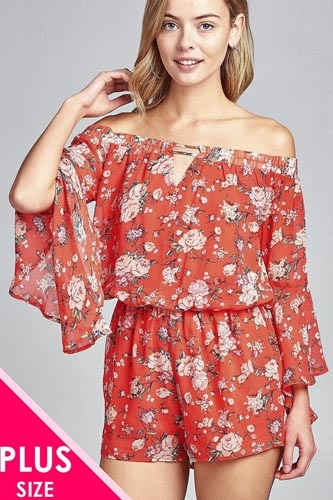 Ladies fashion plus size front keyhole off the shoulder long ruffle bell sleeve floral print crepe chiffon romper-id.CC34620