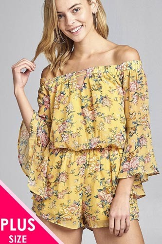 Ladies fashion plus size front keyhole off the shoulder long ruffle bell sleeve floral print crepe chiffon romper-id.CC34620a