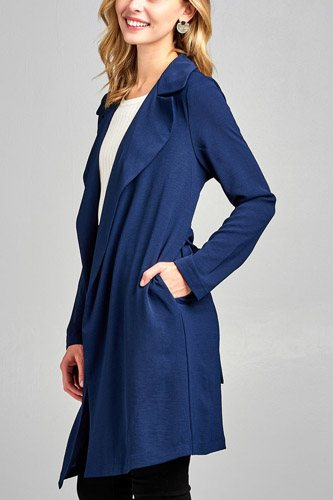 Ladies fashion long sleeve open front w/belt drape woven jacket-id.CC34626a