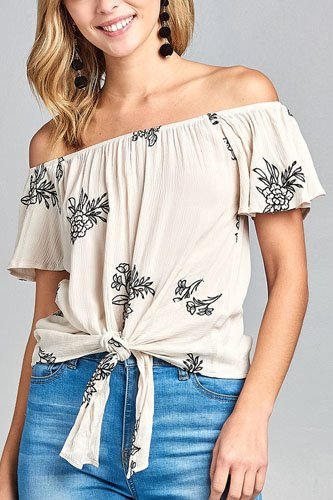 Ladies fashion flounce off the shoulder front self tie all over embo crinkle gauze woven top-id.CC34631a