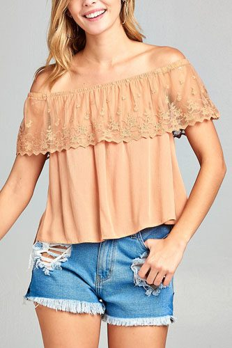 Ladies fashion off the shoulder w/lace ruffle crinkle gauze woven top-id.CC34633