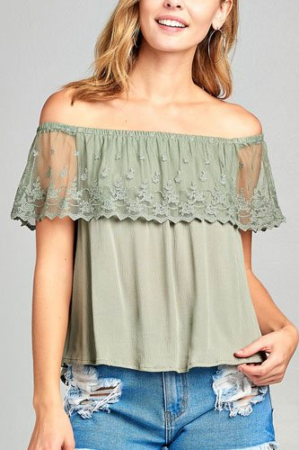 Ladies fashion off the shoulder w/lace ruffle crinkle gauze woven top-id.CC34633e