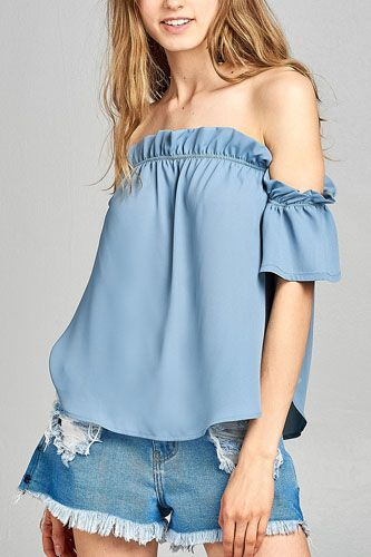 Ladies fashion short sleeve off the shoulder ruffled hem w/elastic detail wool dobby woven top -id.CC34634a