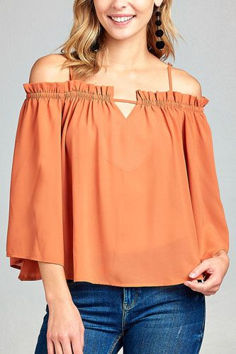 Ladies fashion bell sleeve open shoulder georgette chiffon woven top-id.CC34635a