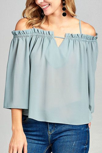 Ladies fashion bell sleeve open shoulder georgette chiffon woven top-id.CC34635b