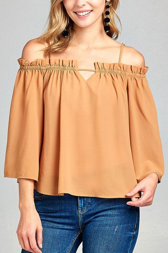 Ladies fashion bell sleeve open shoulder georgette chiffon woven top-id.CC34635c