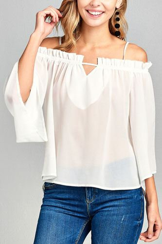 Ladies fashion bell sleeve open shoulder georgette chiffon woven top-id.CC34635e