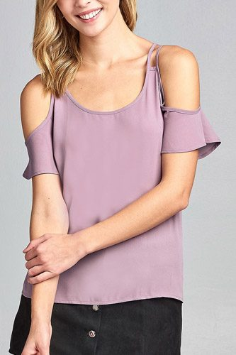 Ladies fashion open shoulder short sleeve wool dobby top-id.CC34642c