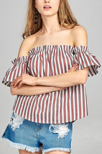 Ladies fashion short sleeve off the shoulder multi stripe top-id.CC34646a