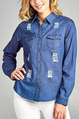 Ladies fashion 3/4 roll up sleeve distressed chambray shirts-id.CC34648