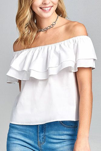 Ladies fashion double ruffle flounce off the shoulder cotton top-id.CC34650b
