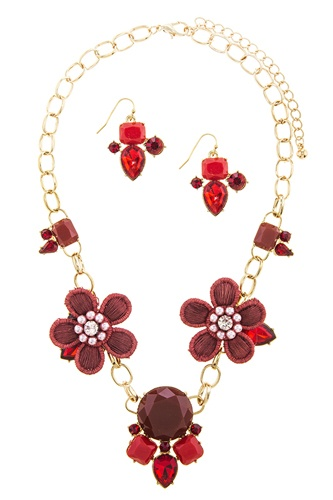 Flower patch accent statement necklace set-id.CC34652