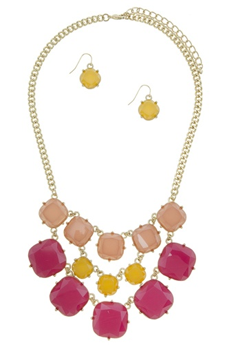 Three color layered faux stone statement necklace set-id.CC34653
