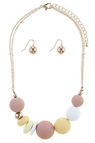 Sliding matte ball necklace set-id.CC34655