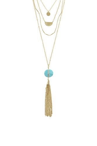 Chain tassel wire wrapped semi precious stone necklace-id.CC34658