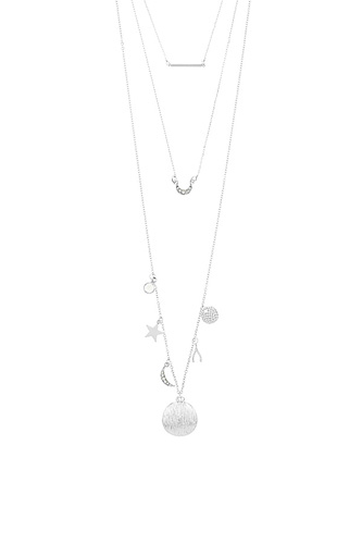 Star and moon theme three layer necklace-id.CC34659