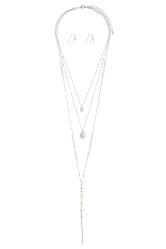 Linear bar accent faux pearl layer necklace set-id.CC34660