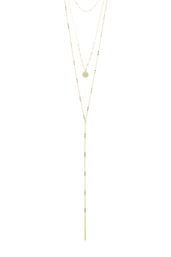 Linear bar accent multi layer lariat necklace-id.CC34662