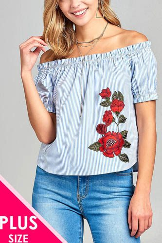 Ladies fashion plus size elastic neck line off the shoulder w/floral patched stripe cotton spandex top-id.CC34667