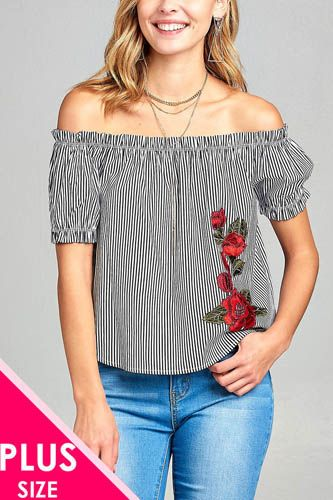 Ladies fashion plus size elastic neck line off the shoulder w/floral patched stripe cotton spandex top-id.CC34667b
