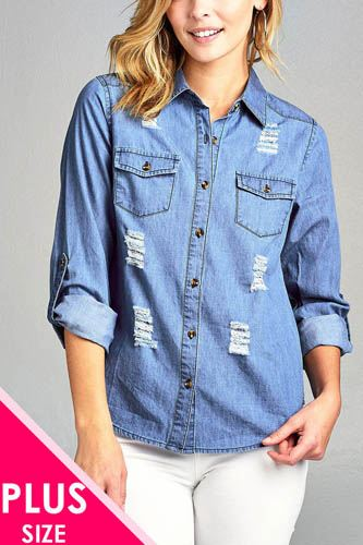 Ladies fashion plus size 3/4 roll up sleeve distressed chambray shirts-id.CC34668a