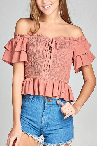 Ladies fashion double layered short sleeve off the shoulder front smocked w/lace-up crinkle gauze woven top -id.CC34669