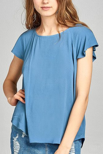 Ladies fashion short sleeve ruffled round neck strappy back detail crinkle gauze woven top-id.CC34670