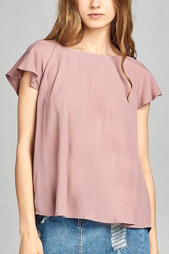 Ladies fashion short sleeve ruffled round neck strappy back detail crinkle gauze woven top-id.CC34670a