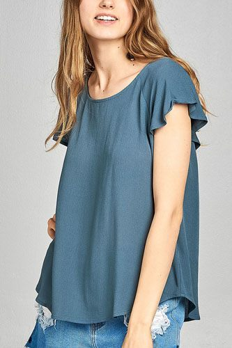 Ladies fashion short sleeve ruffled round neck strappy back detail crinkle gauze woven top-id.CC34670c