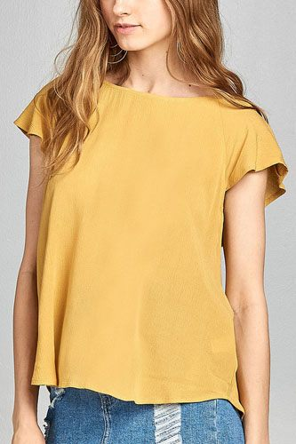 Ladies fashion short sleeve ruffled round neck strappy back detail crinkle gauze woven top-id.CC34670e