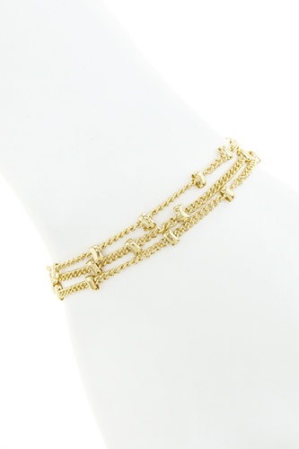 Metal bead multi chain bracelet-id.CC34672