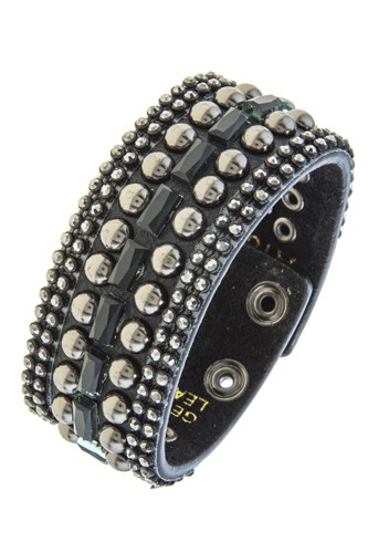 Rhinestone and stud accent band bracelet-id.CC34679