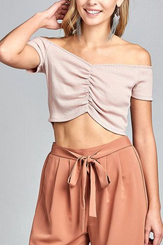 Ladies fashion short sleeve off the shoulder front shirring detail crop knit top-id.CC34687a