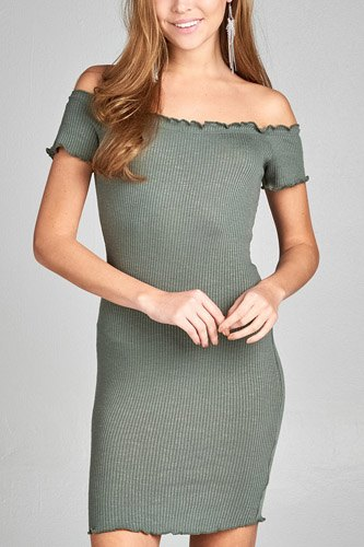 Ladies fashion short sleeve off the shoulder merrow dress-id.CC34688