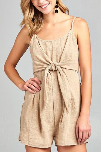 Ladies fashion sleeveless cami scoop neckline knotted with smocked back cotton slub romper-id.CC34689a
