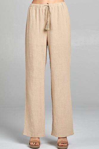 Ladies fashion front tassel detail cotton slub wide long pants-id.CC34690a
