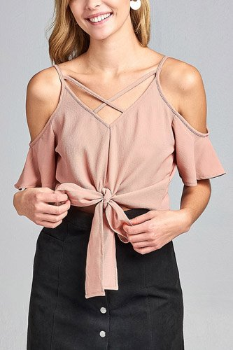 Ladies fashion short sleeve open shoulder v-neck w/cross strap front self-tie crepe woven top-id.CC34691