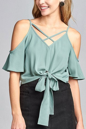 Ladies fashion short sleeve open shoulder v-neck w/cross strap front self-tie crepe woven top-id.CC34691c