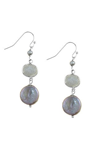 Mother of pearl accent disks drop earrings-id.CC34695