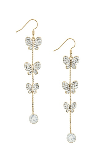 Crystal linear butterfly chain drop earrings-id.CC34696