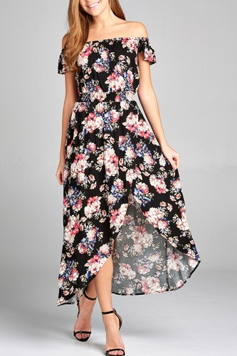 Ladies fashion off the shoulder ruffle short sleeve smocked waist high-low floral print dress-id.CC34709