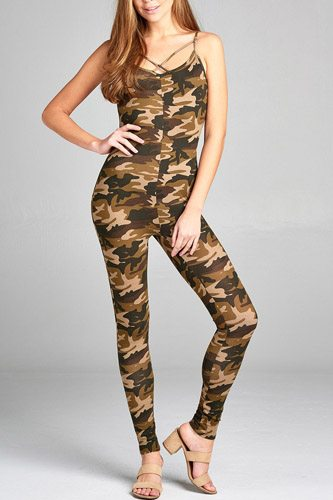 Ladies fashion front cross strap cami bodycon w/camo print jersey cotton spandex jumpsuit-id.CC34711